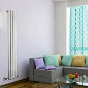 "Delta - White Vertical Single Slim-Panel Designer Radiator - 63"" x 11"""