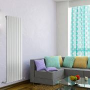 "Delta - White Vertical Single Slim-Panel Designer Radiator - 63"" x 22"""