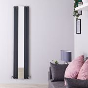 "Sloane - Anthracite Vertical Double-Panel Designer Radiator - 70.75"" x 15"""