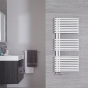 "Iseo - Mineral White Hydronic Designer Towel Warmer - 44"" x 19.75"""
