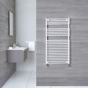 "Ischia - Hydronic White Heated Towel Warmer - 45.25"" x 17.75"""