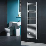 "Ischia - Hydronic White Heated Towel Warmer - 65"" x 17.75"""