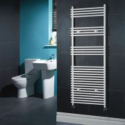 "Ischia - Hydronic White Heated Towel Warmer - 65"" x 23.5"""