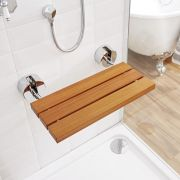 Bengal Teak Wood Folding Shower Seat with Chrome Brackets