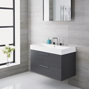 Langley - 35'' Gray Wall-Mount Bathroom Vanity