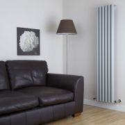 "Savy - Silver Vertical Single-Panel Designer Radiator - 70"" x 14"""