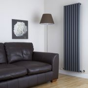 "Savy - Anthracite Vertical Single-Panel Designer Radiator - 63"" x 18.5"""