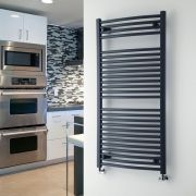 """Loa - Hydronic Anthracite Curved Heated Towel Warmer - 47.25"""" x 23.5"""""""