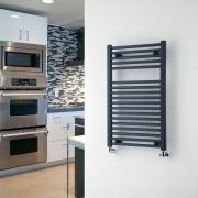 "Loa - Hydronic Anthracite Flat Heated Towel Warmer - 31.5"" x 19.75"""