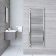 "Linosa - Hydronic Chrome Flat Heated Towel Warmer - 59"" x 23.5"""