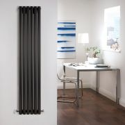 "Savy - Black Vertical Single-Panel Designer Radiator - 63"" x 14"""