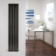 "Sloane - Black Vertical Single Flat-Panel Designer Radiator - 63"" x 14"""
