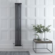 "Regent - Black Vertical 2-Column Traditional Cast-Iron Style Radiator - 70.75"" x 11.5"""