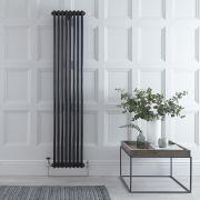 "Regent - Black Vertical 2-Column Traditional Cast-Iron Style Radiator - 70.75"" x 15"""