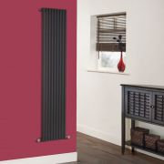 "Fin - Black Vertical Single-Panel Designer Radiator - 63"" x 13.5"""