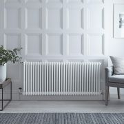 "Regent - White Horizontal 2-Column Traditional Cast-Iron Style Radiator - 23.5"" x 59.25"""
