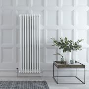 "Regent - White Vertical 3-Column Traditional Cast-Iron Style Radiator - 59"" x 22.25"""