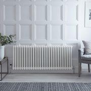 "Regent - White Horizontal 3-Column Traditional Cast-Iron Style Radiator - 23.5"" x 57.75"""