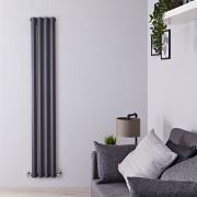 "Edifice - Anthracite Vertical Double-Panel Designer Radiator - 63"" x 11"""