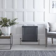 "Regent - Anthracite Horizontal 3-Column Traditional Cast-Iron Style Radiator - 23.5"" x 23"""