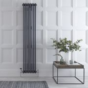 "Regent - Anthracite Vertical 3-Column Traditional Cast-Iron Style Radiator - 70.75"" x 14.25"""