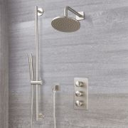 "Eclipse Thermostatic Brushed Nickel Shower System with 8"" Shower Head and Slide Rail Kit"