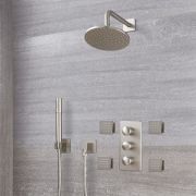 "Eclipse Thermostatic Brushed Nickel Shower System with 8"" Shower Head, Handshower and 4 Body Sprays"