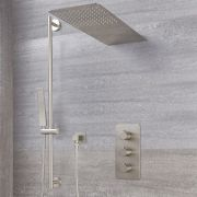 Arcadia Thermostatic Brushed Nickel Shower System with Waterfall Head and Slide Rail Kit