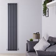 "Revive - Anthracite Vertical Single-Panel Designer Radiator - 70"" x 14"""