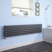 "Sloane - Anthracite Horizontal Double Flat-Panel Designer Radiator - 14"" x 70"""