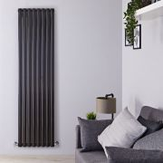 "Revive - Black Vertical Double-Panel Designer Radiator - 70"" x 18.5"""