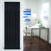 "Revive - Black Vertical Double-Panel Designer Radiator - 70"" x 23.25"""