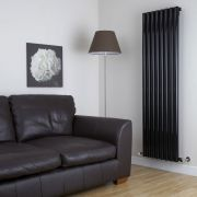 "Savy - Black Vertical Single-Panel Designer Radiator - 70"" x 18.5"""
