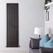 "Delta - Black Vertical Double Slim-Panel Designer Radiator - 70"" x 19.25"""