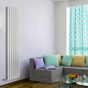 "Delta - White Vertical Double Slim-Panel Designer Radiator - 70"" x 16.5"""