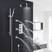 Thermostatic Shower System with Slider Rail Kit & 6 Body Spray Jets