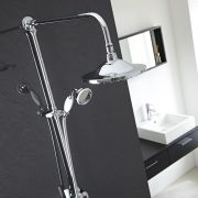 Traditional Chrome Grand Rigid Riser Over Head and Hand Held Shower Outlets