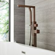 Kubix - Freestanding Tub Faucet with Hand Shower - Multiple Finishes Available