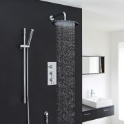 "Quest Thermostatic Shower System with 12"" Head & Handshower"