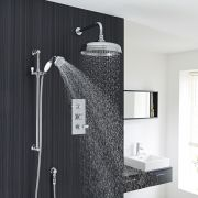 "Traditional Thermostatic Shower System with 12"" Ceiling Apron Head & Handshower"