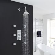 "Beaumont Thermostatic Shower System with 8"" Rose & 6 Jet Sprays"