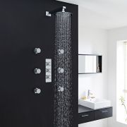"Kristal Thermostatic Shower System with 8"" Head & 6 Round Jet Sprays"