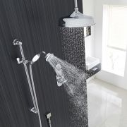 "Beaumont Thermostatic Shower System with 12"" Apron Head & Ceiling Arm & Brass Handset"