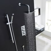 "Beaumont Thermostatic Shower System with 8"" Square Head & Wall Arm & Handset"