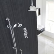 "Beaumont Thermostatic Shower System with 8"" Rose & Ceiling Arm & Handset"