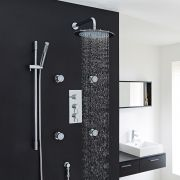 "Quest Thermostatic Shower System with 12"" Head, Handshower & 4 Jet Sprays"