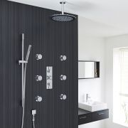 "Tec Thermostatic Shower System with 12"" Round Ceiling Head , Handshower & 6 Round Jet Sprays"