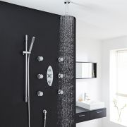 """Tec Thermostatic Shower System with 8"""" Round Head & Ceiling Arm , Handset & 6 Round Jet Sprays"""