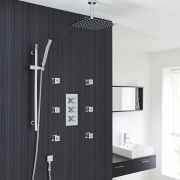 "Kristal Thermostatic Shower System with 12"" Square Head & Ceiling Arm , Handset & 6 Square Jet Sprays"