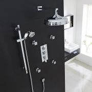 "Traditional Thermostatic Shower System with 12"" Apron Head & Wall Arm , Handset & 4 Square Jet Sprays"